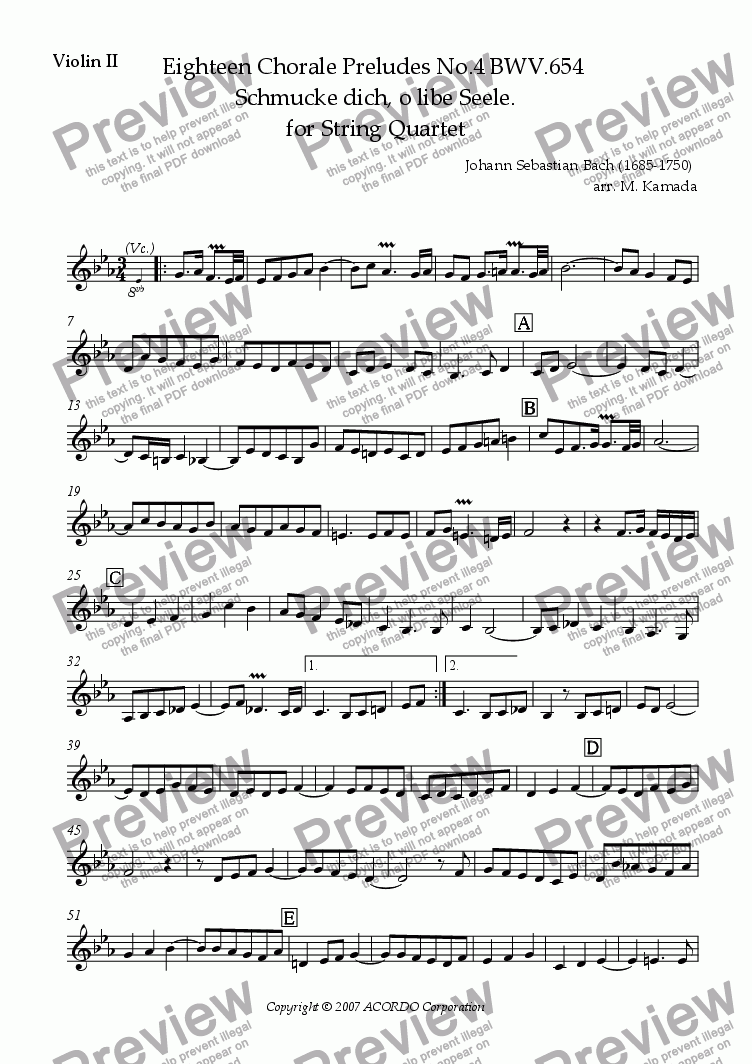 page one of the Violin II part from Eighteen Chorale Preludes No.4 BWV.654  Schmucke dich, o libe Seele. for String Quartet (2 Violins, Viola & Cello)