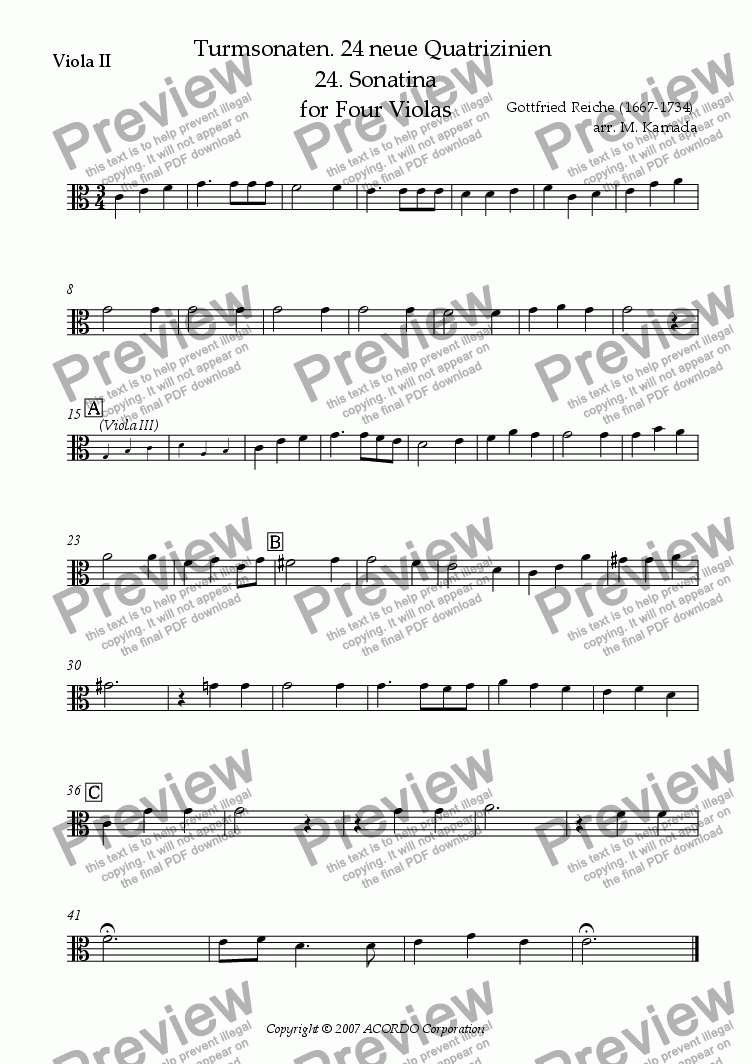 page one of the Viola II part from Turmsonaten. 24 neue Quatrizinien 24. Sonatina for Four Violas