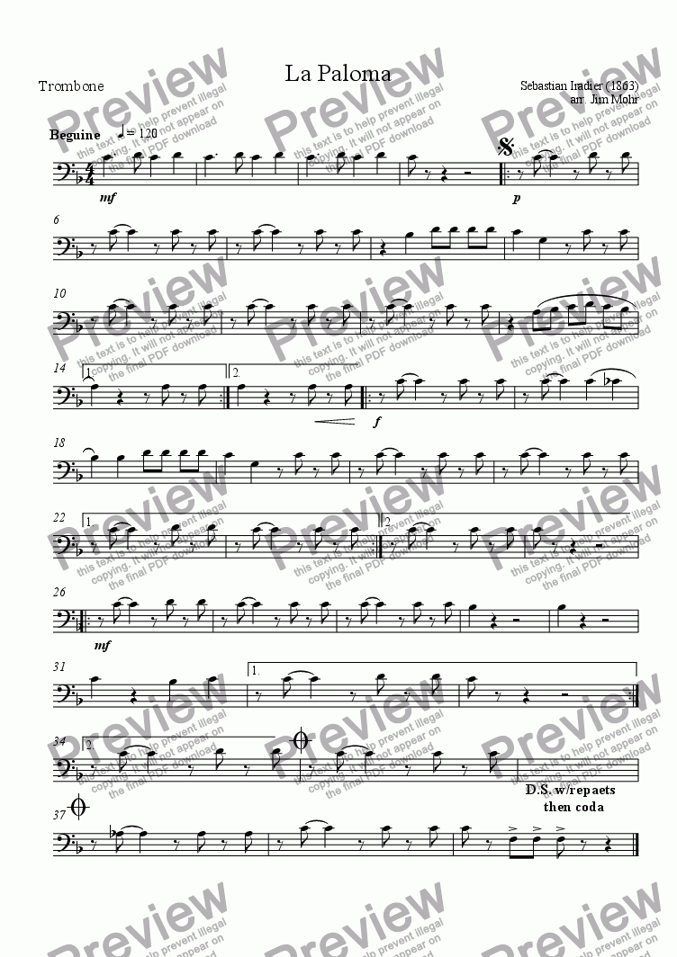 page one of the 04 Trombone part from La Paloma