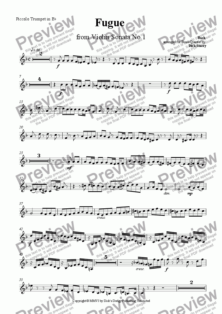 page one of the Piccolo Trumpet in Bb (Trumpet 1) part from Fugue from Violin Sonata No 1
