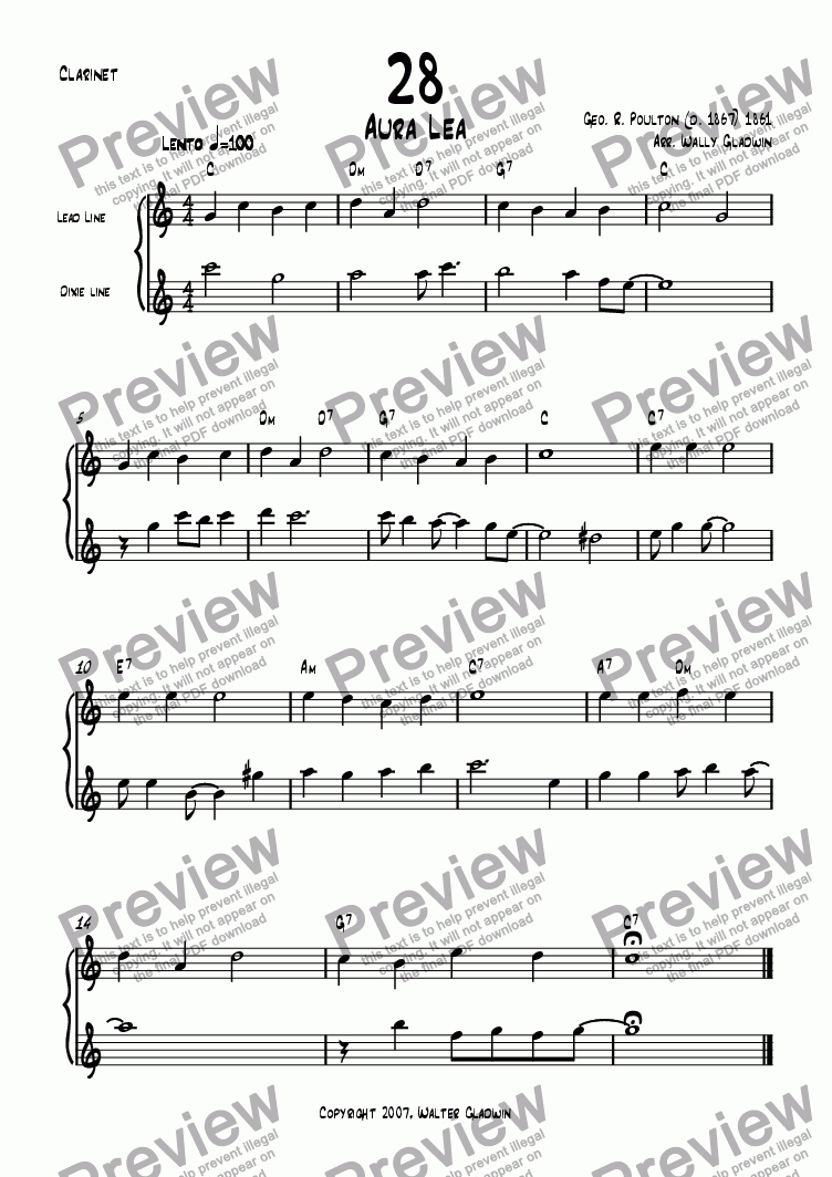 page one of the Clarinet part from Dixiechart 28. Aura Lea