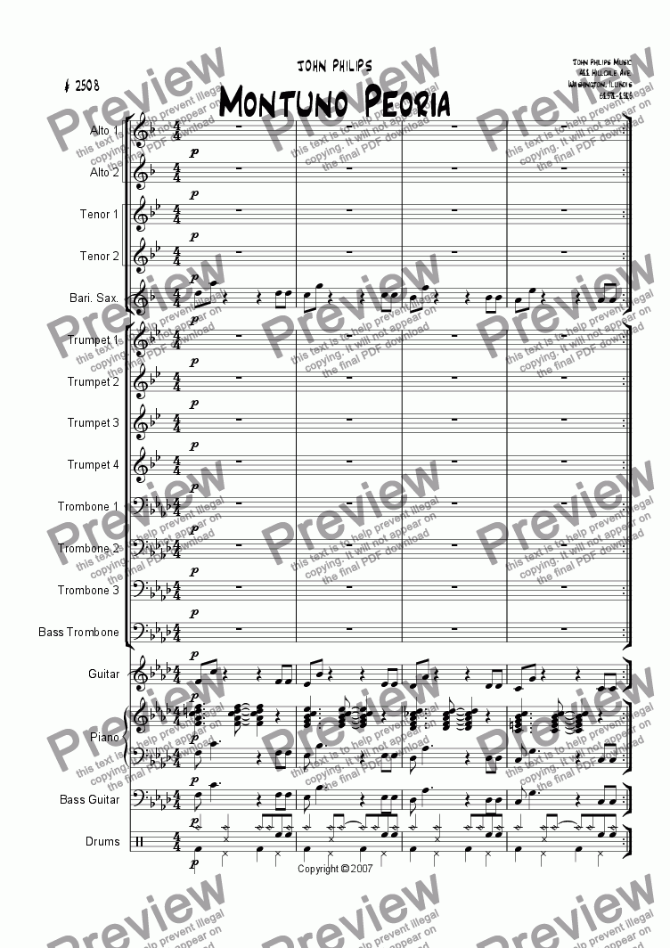 "page one of the Bass Trombone part from "" MONTUNO PEORIA """