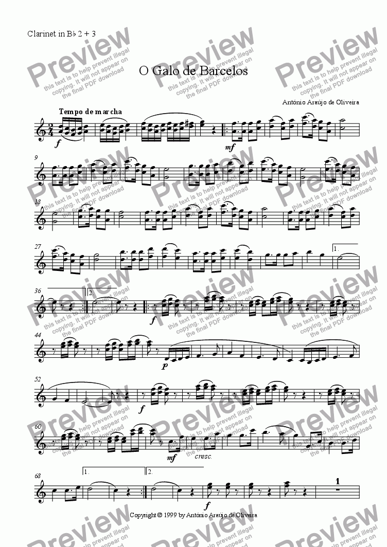 page one of the Clarinet in Bb 2 + 3 part from O Galo de Barcelos