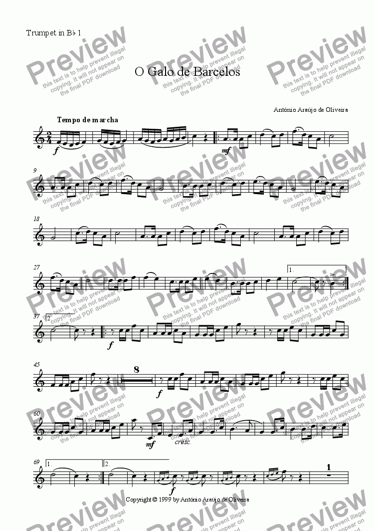 page one of the Trumpet in Bb 1 part from O Galo de Barcelos
