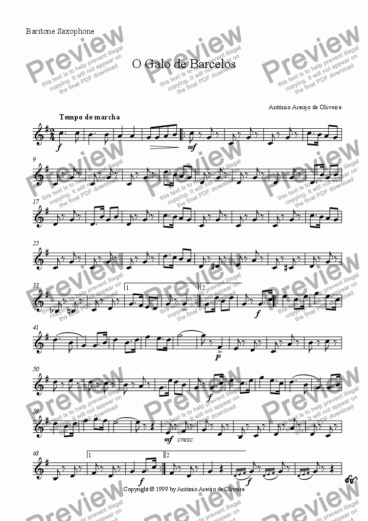 page one of the Baritone Saxophone part from O Galo de Barcelos