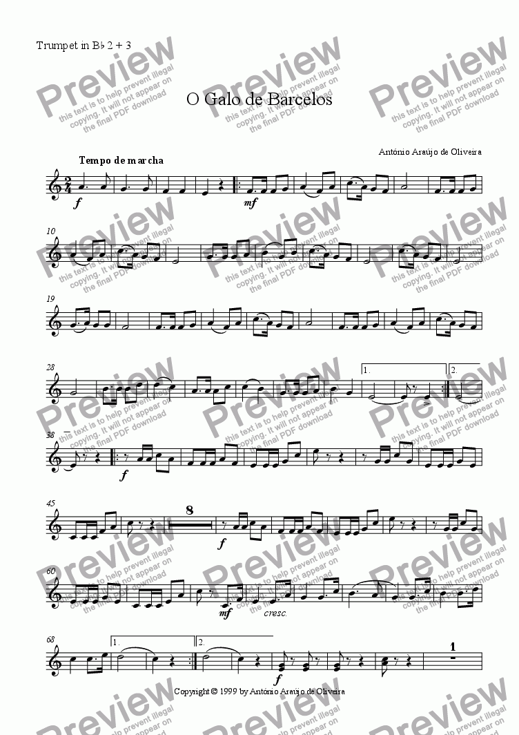page one of the Trumpet in Bb 2 + 3 part from O Galo de Barcelos