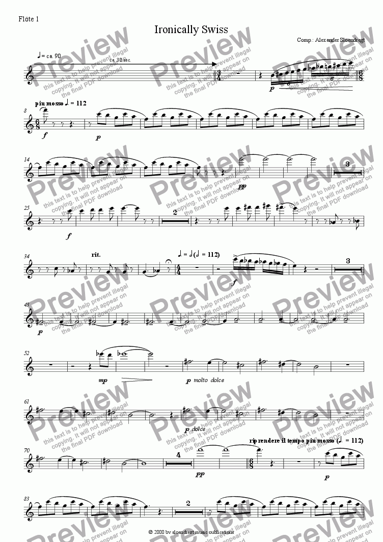 page one of the flute 1 part from Ironically Swiss