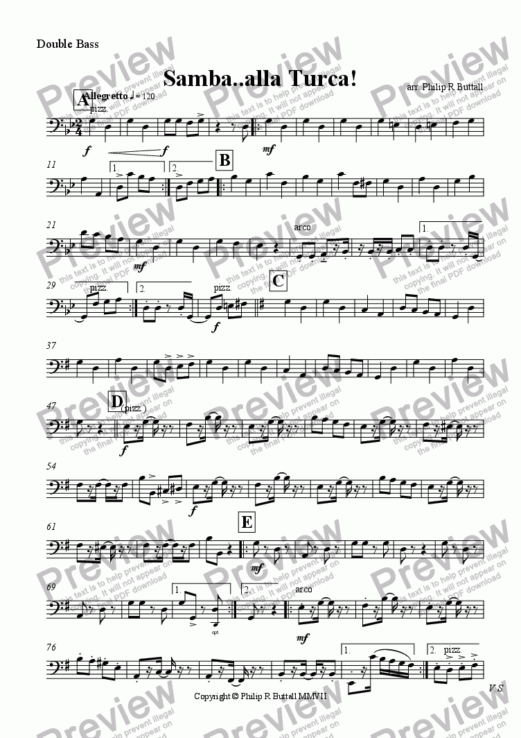 page one of the Double Bass part from Samba..alla Turca! (Orchestra)