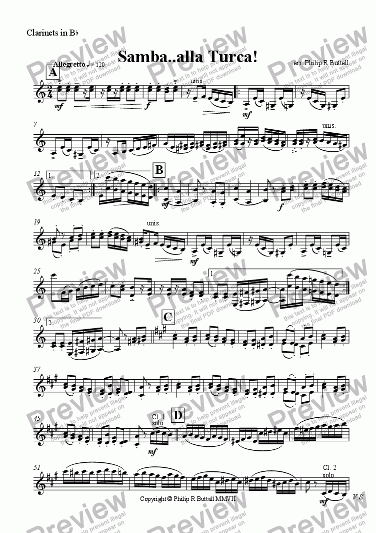 page one of the Clarinets in Bb part from Samba..alla Turca! (Orchestra)