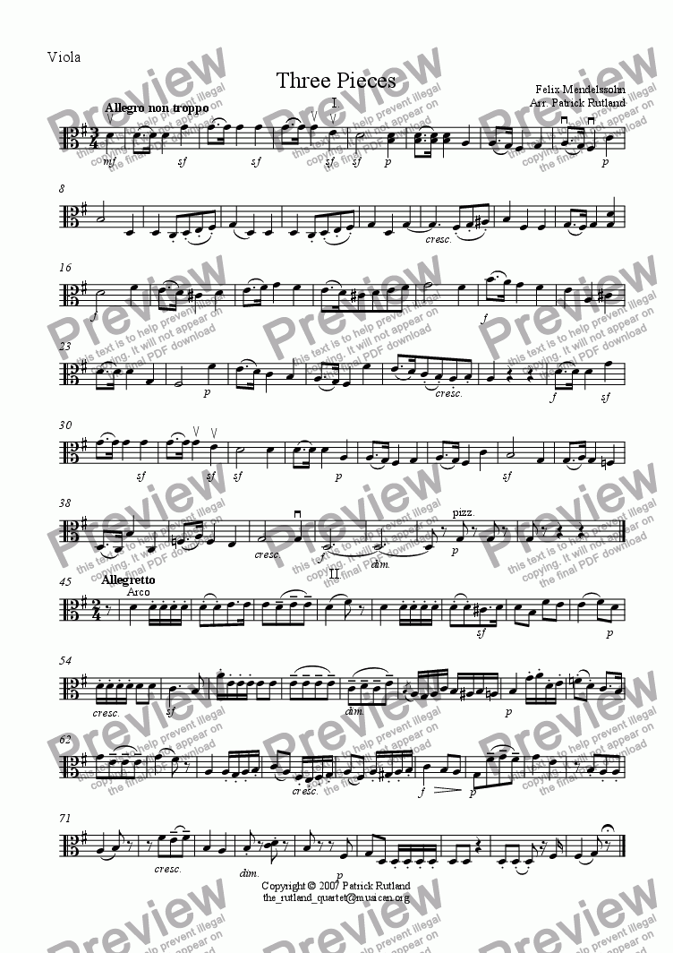 page one of the Viola part from Three Pieces by Mendelssohn