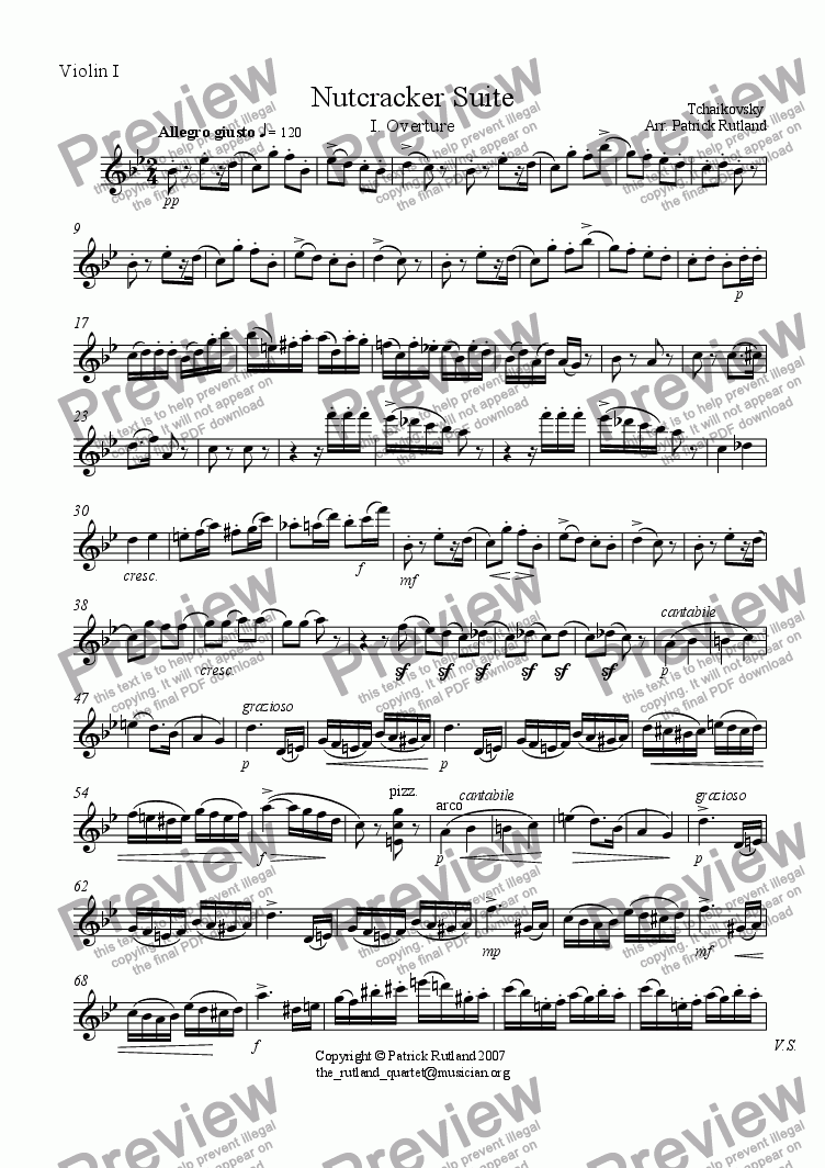 page one of the Violin 1 part from Overture to The Nutcracker