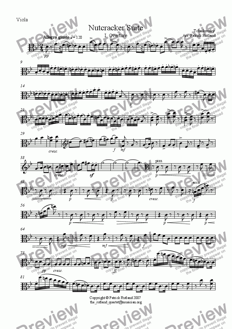 page one of the Viola part from Overture to The Nutcracker