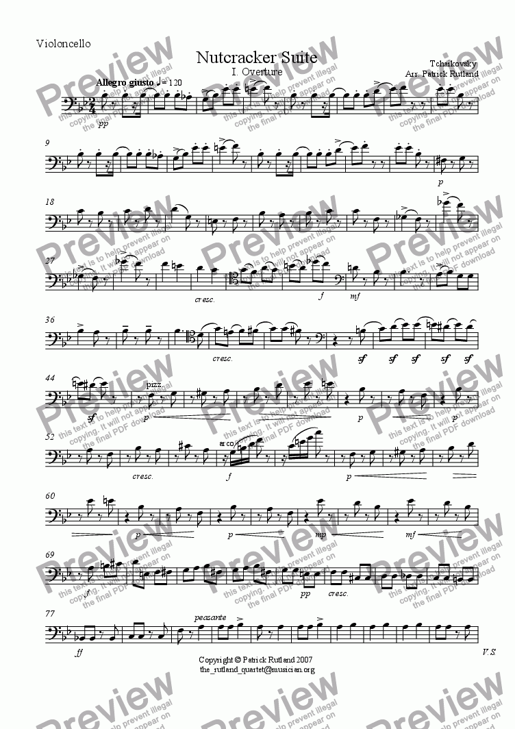 page one of the Cello part from Overture to The Nutcracker