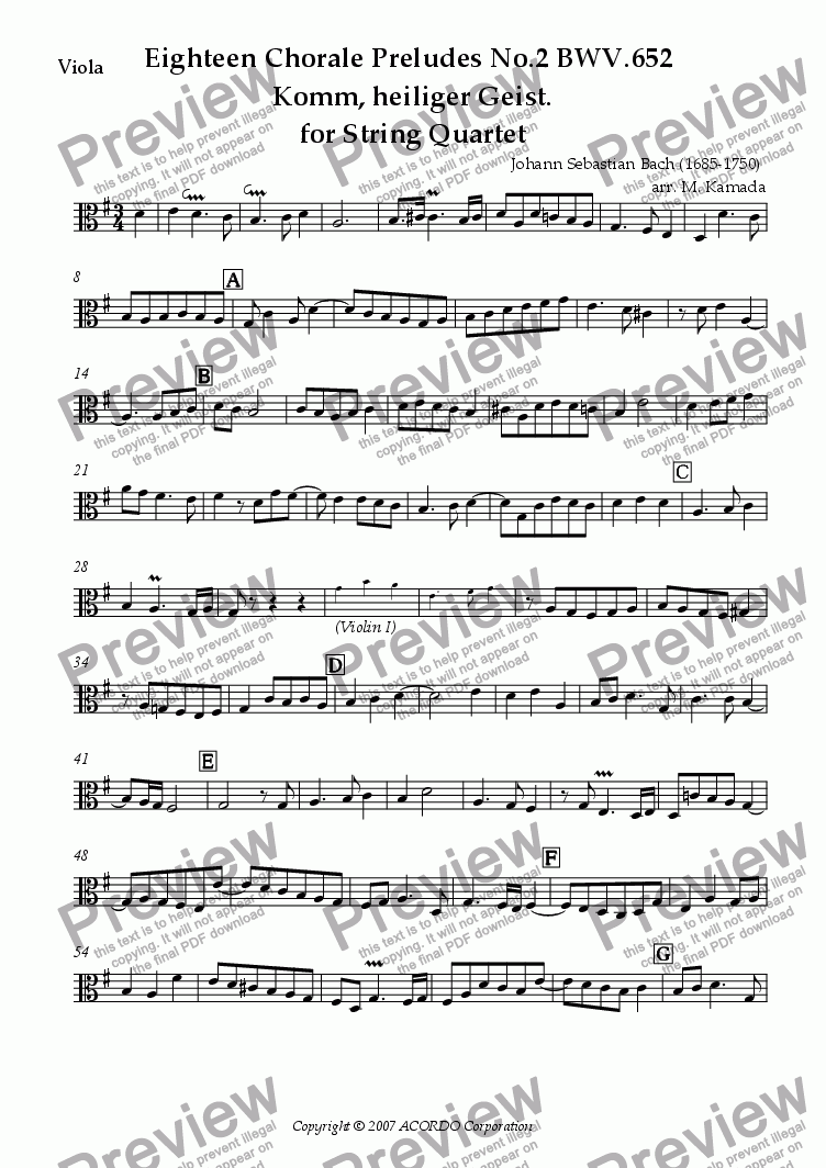 page one of the Viola part from Eighteen Chorale Preludes No.2 BWV.652  Komm, heiliger Geist. for String Quartet (2 Violins, Viola & Cello)