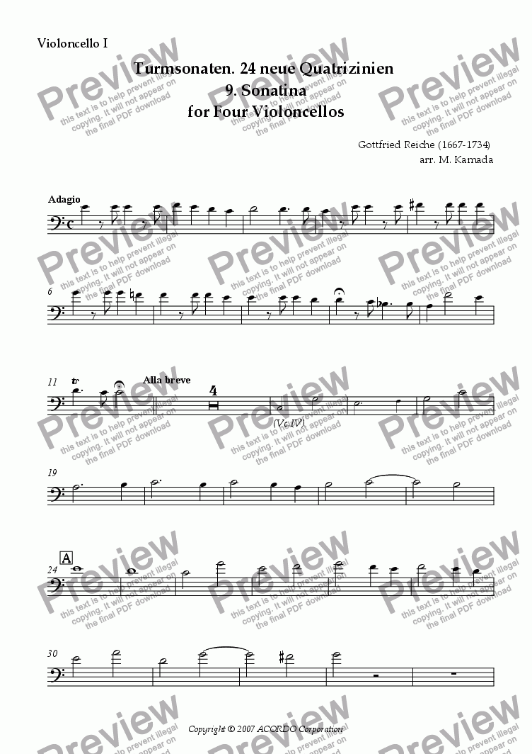 page one of the Violoncello I part from Turmsonaten. 24 neue Quatrizinien 9. Sonatina for Four Violoncellos