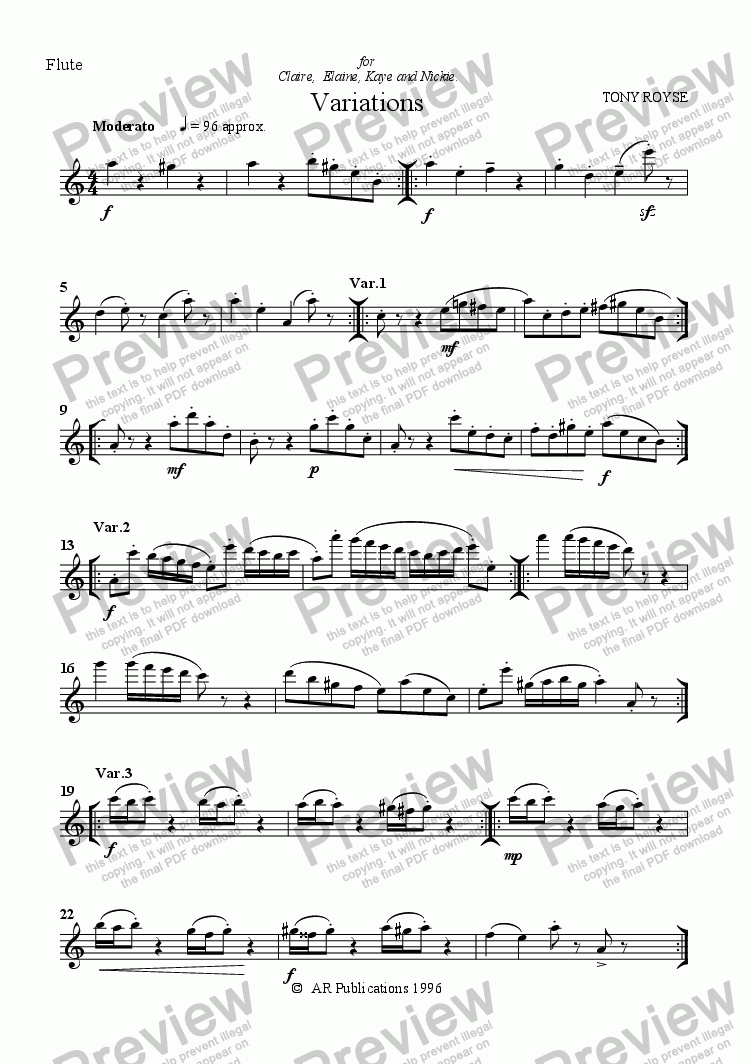 page one of the Flute part from Variations (Fl, Ob, Clar & Vln.)