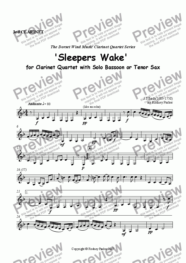 page one of the 3rd Clarinet part from 'Sleepers Wake' for Clarinet Quartet with solo Bassoon,Tenor Sax or Trombone