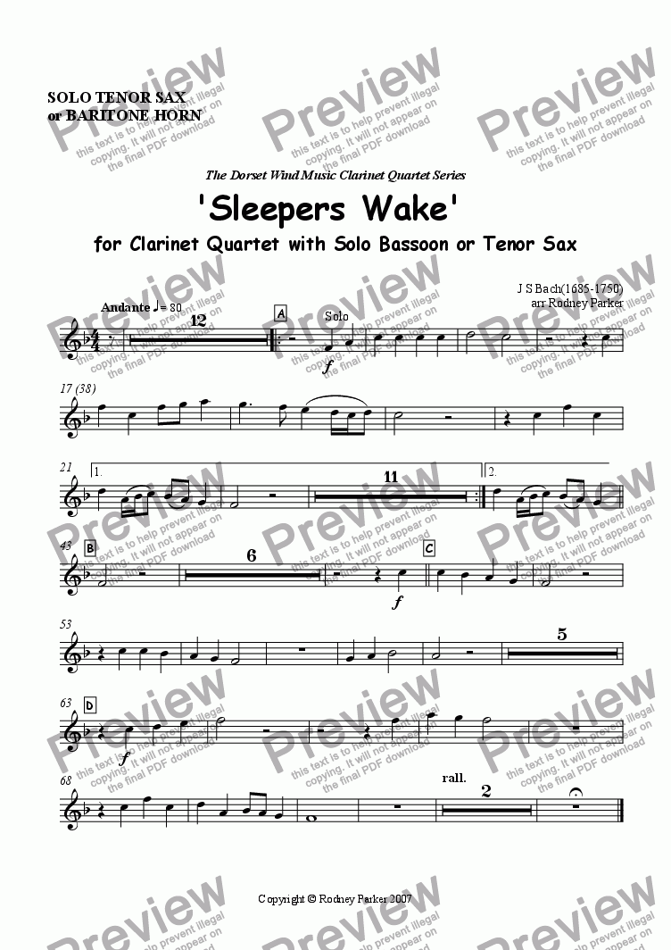 page one of the Solo Tenor Sax or Baritone Horn part from 'Sleepers Wake' for Clarinet Quartet with solo Bassoon,Tenor Sax or Trombone