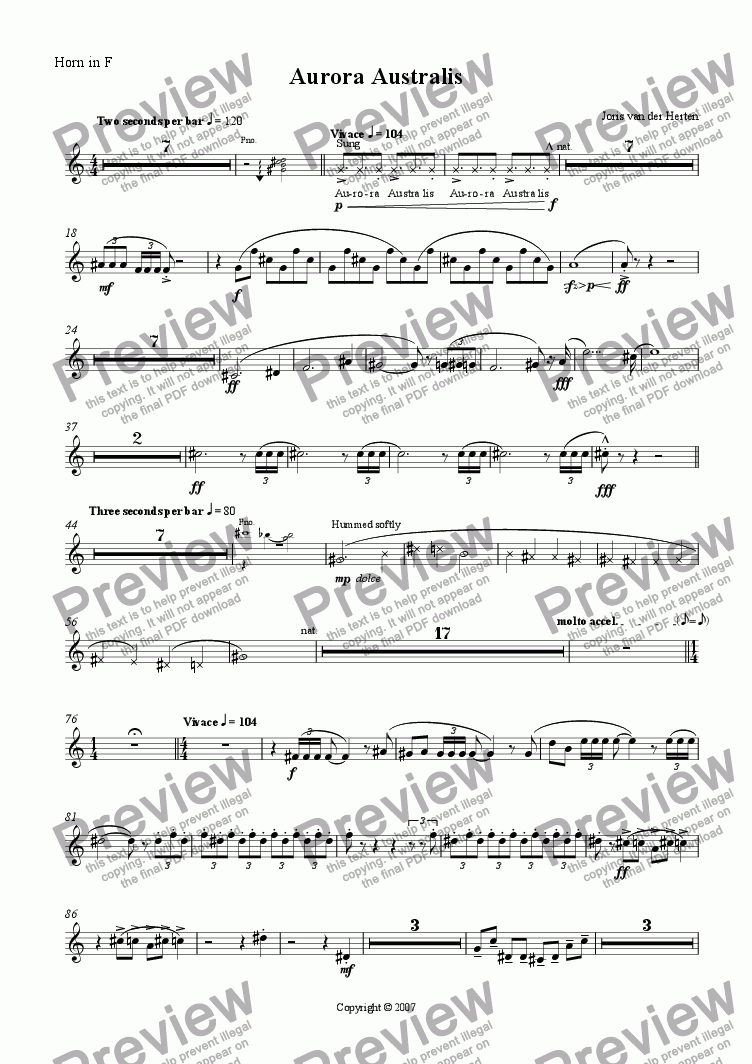 page one of the Horn in F part from Aurora Australis (juvenilia, piano + large wind ensemble)