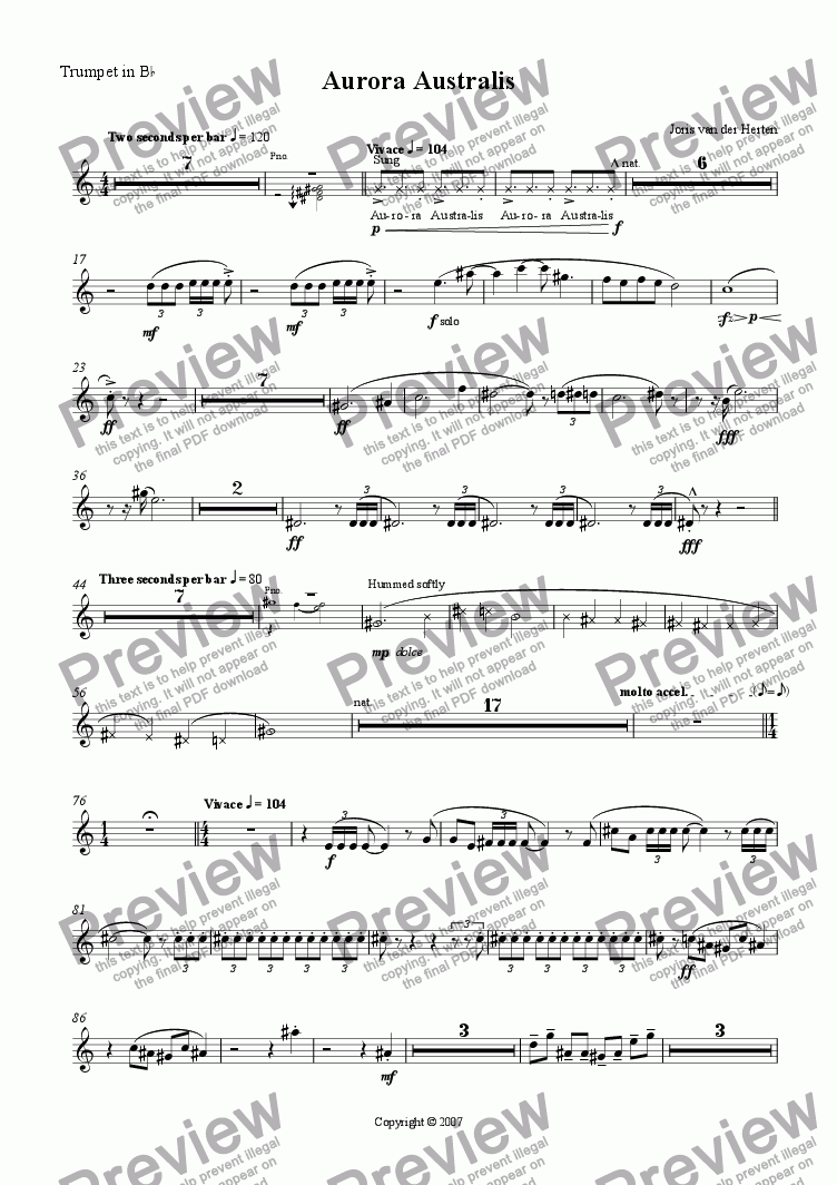 page one of the Trumpet in Bb part from Aurora Australis (juvenilia, piano + large wind ensemble)