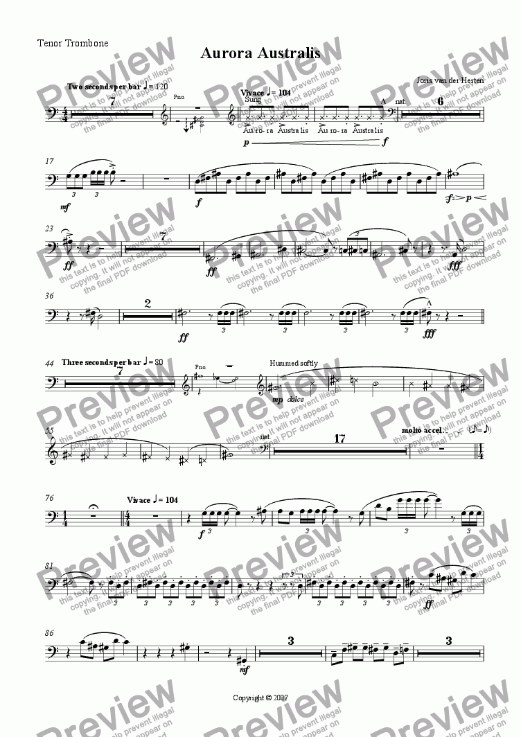 page one of the Tenor Trombone part from Aurora Australis (juvenilia, piano + large wind ensemble)