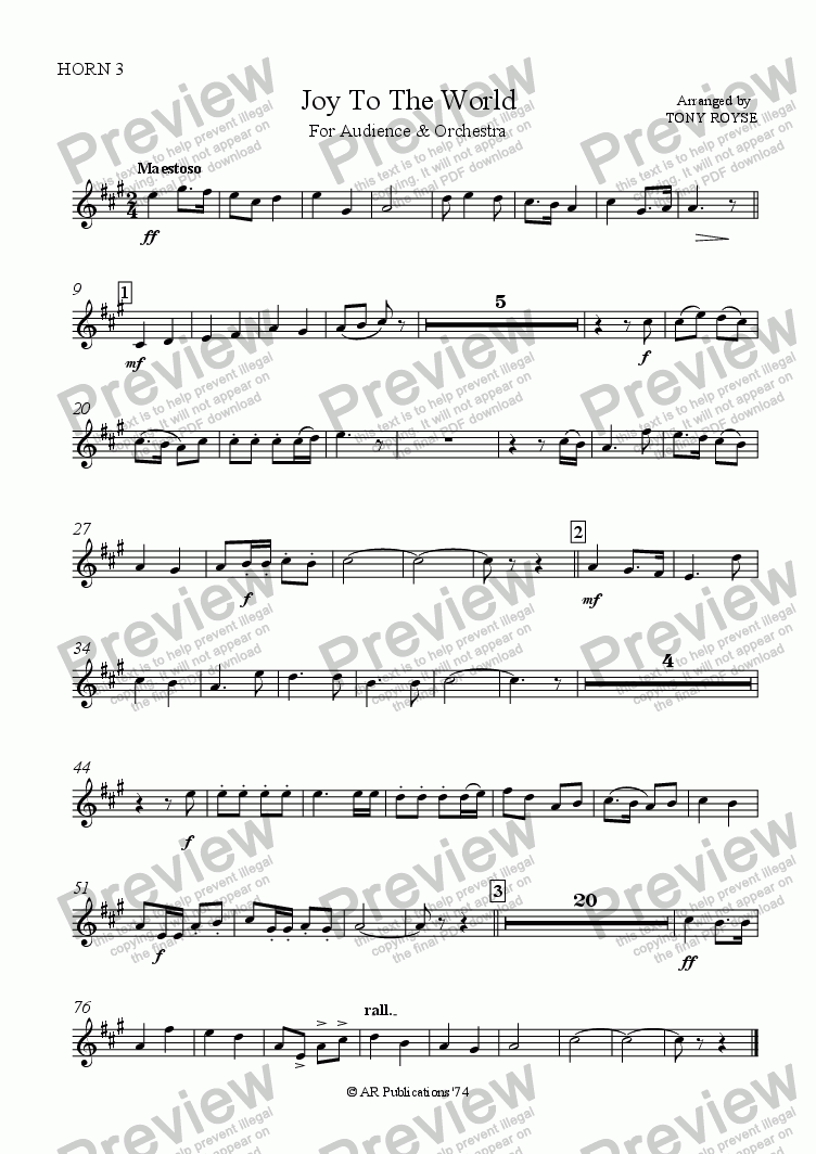 page one of the Horn 3 part from Joy To The World