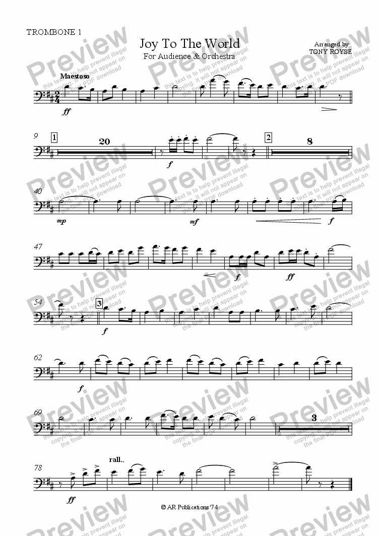page one of the Trombone 1 part from Joy To The World