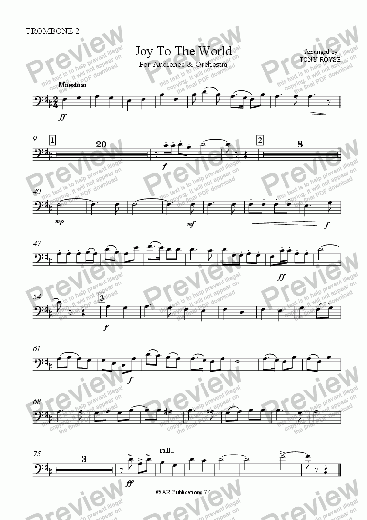 page one of the Trombone 2 part from Joy To The World