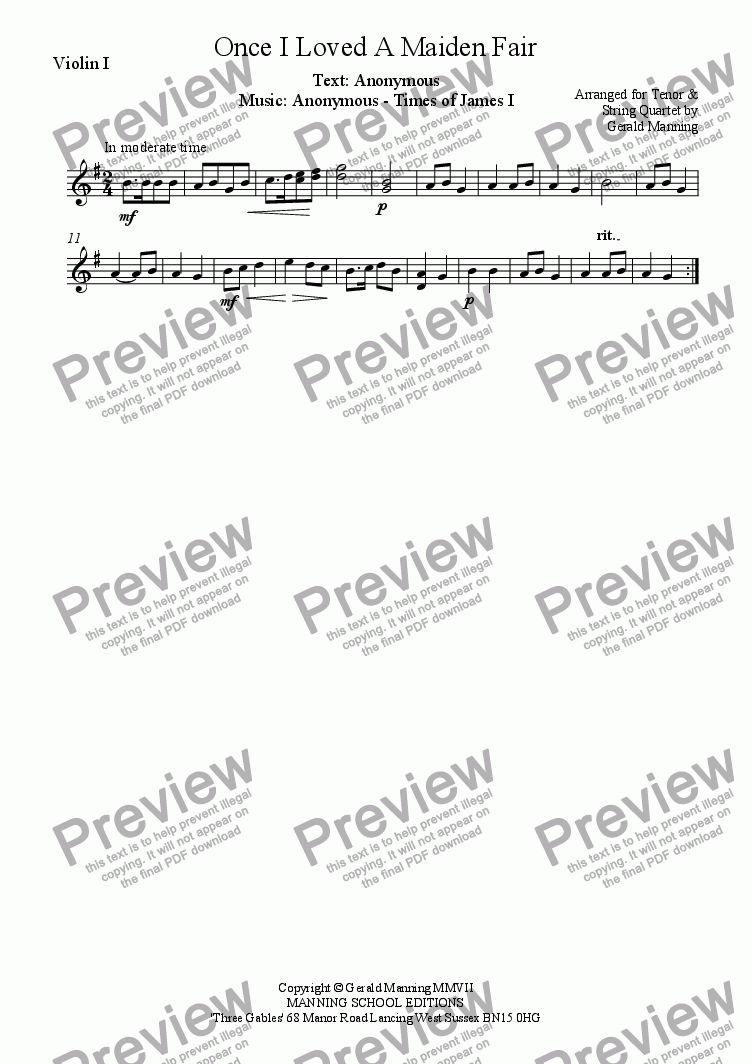 page one of the Violin I part from English Song: Anonymous - Once I loved a maiden fair - arr. for Tenor & String Quartet by Gerald Manning