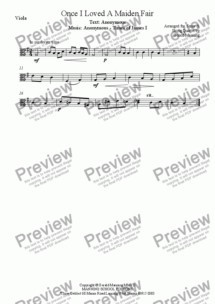 page one of the Viola part from English Song: Anonymous - Once I loved a maiden fair - arr. for Tenor & String Quartet by Gerald Manning