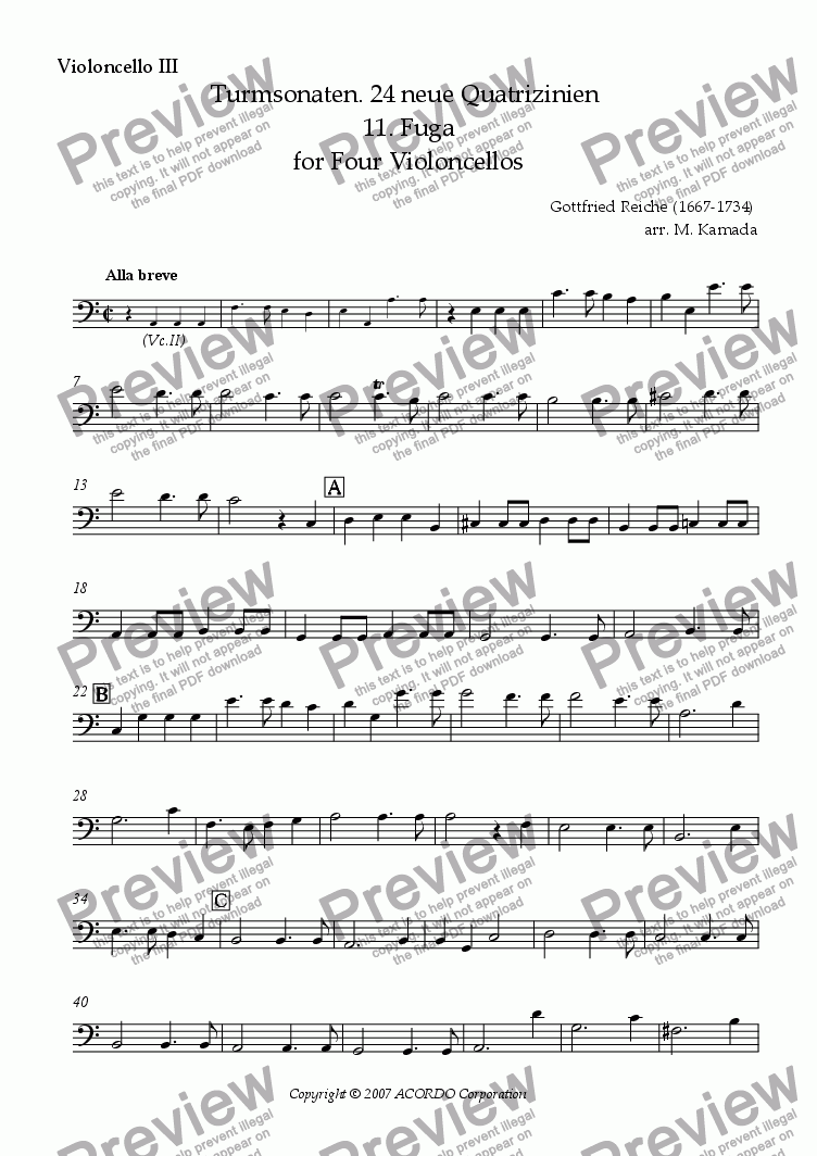 page one of the Violoncello III part from Turmsonaten. 24 neue Quatrizinien 11. Fuga for Four Violoncellos