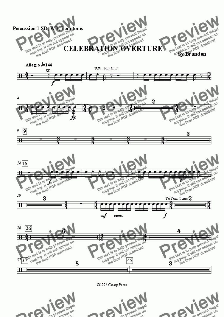 page one of the Percussion 1 part from Celebration Overture for Band
