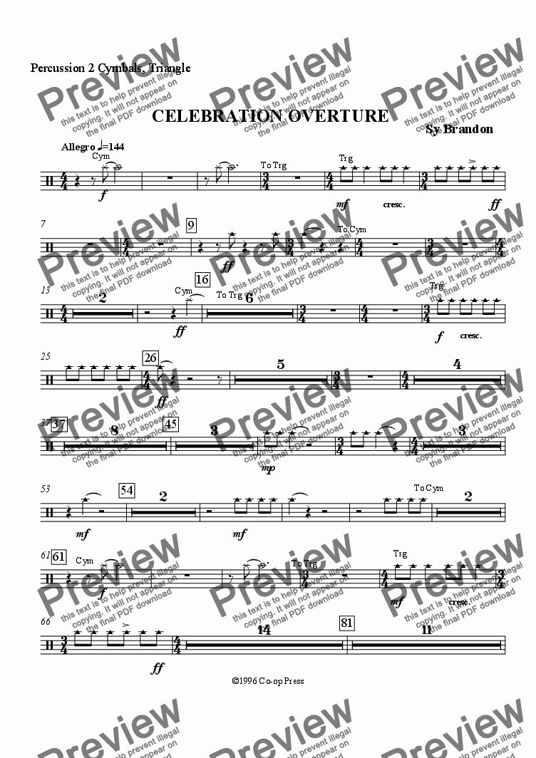 page one of the Percussion 2 part from Celebration Overture for Band