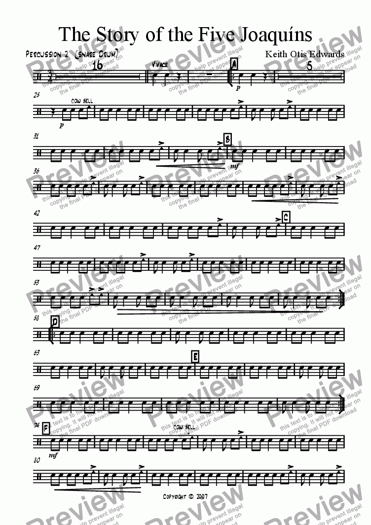 page one of the Percussion 2 (Snare Drum) part from Story of the Five Joaquins (Mariachi for band)