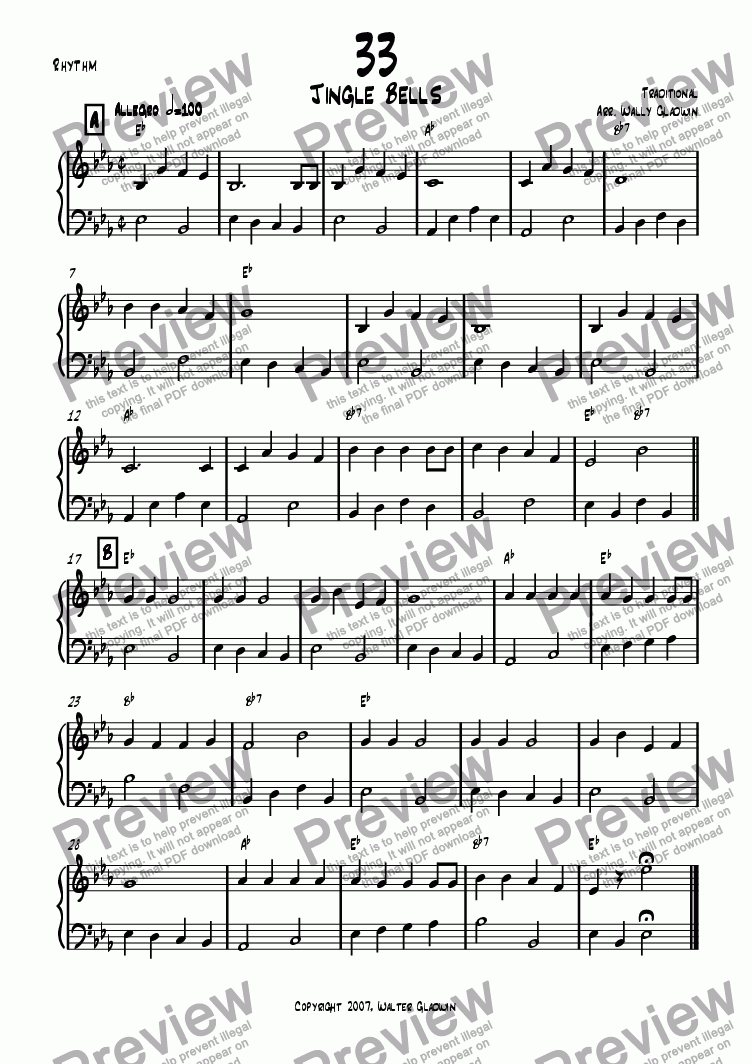 page one of the Rhythm part from Dixiechart 33. Jingle Bells