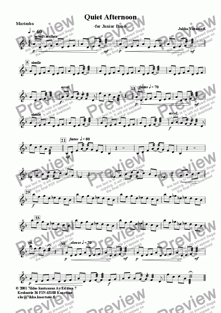page one of the Marimba part from Quiet Afternoon (wind band)