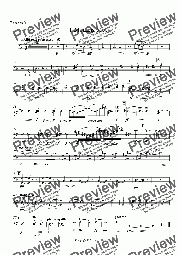 page one of the Bassoon 2 part from Peer Gynt Suite 1. Morning Mood