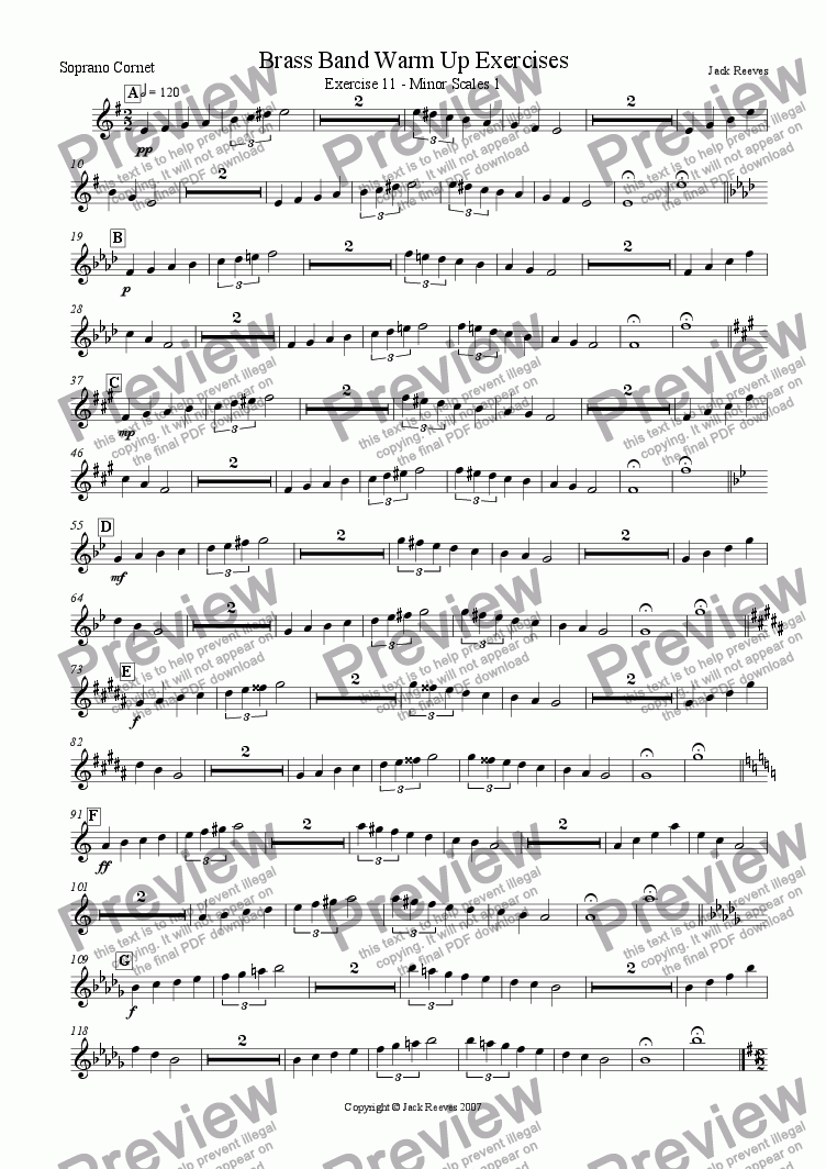 page one of the Soprano Cornet part from Brass Band Warm Up Exercises 11-20