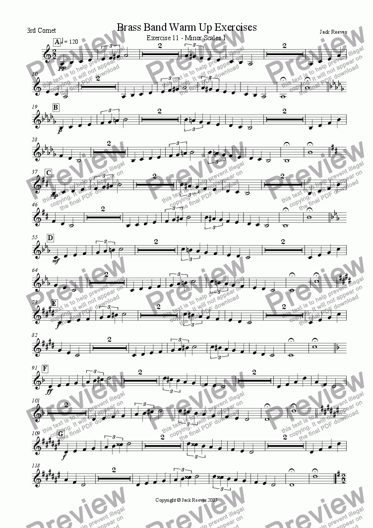page one of the 3rd Cornet part from Brass Band Warm Up Exercises 11-20