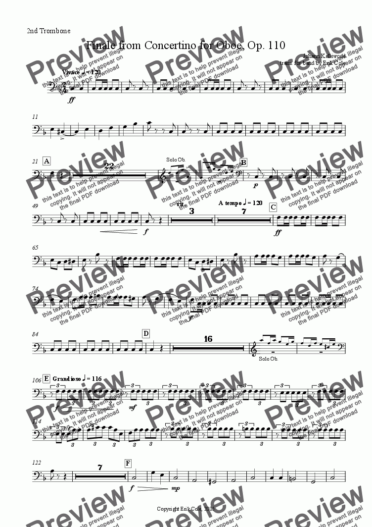 page one of the Trombone 2 part from Finale from Concertino for Oboe, Op. 110