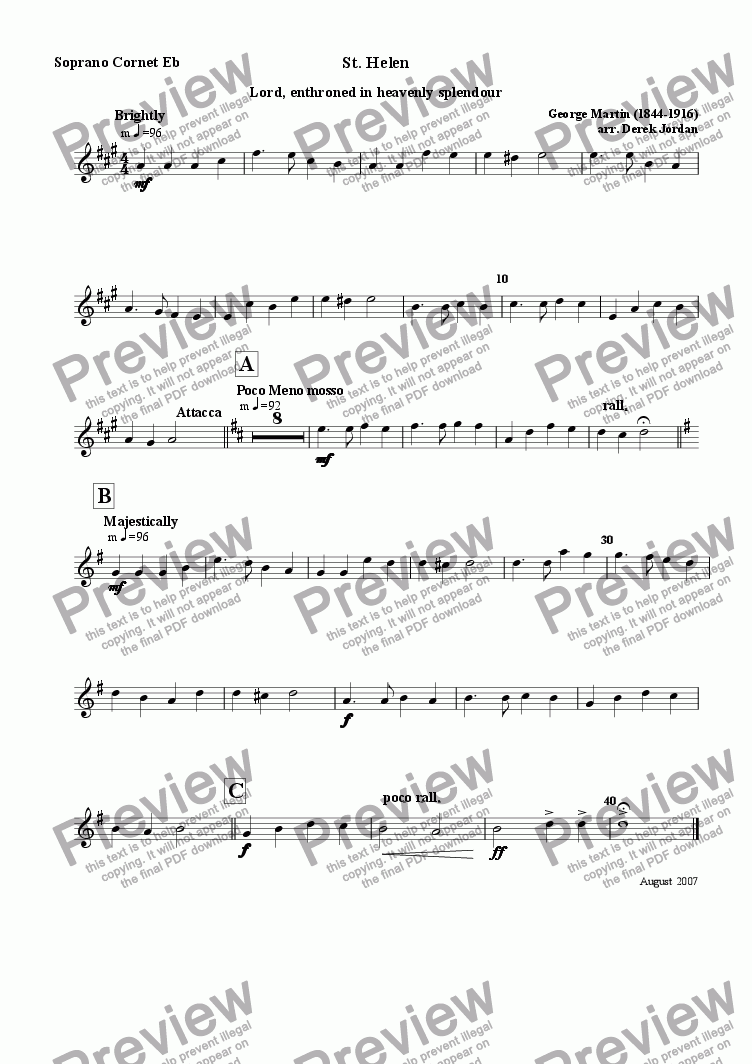 page one of the Soprano Cornet Eb part from St. Helen