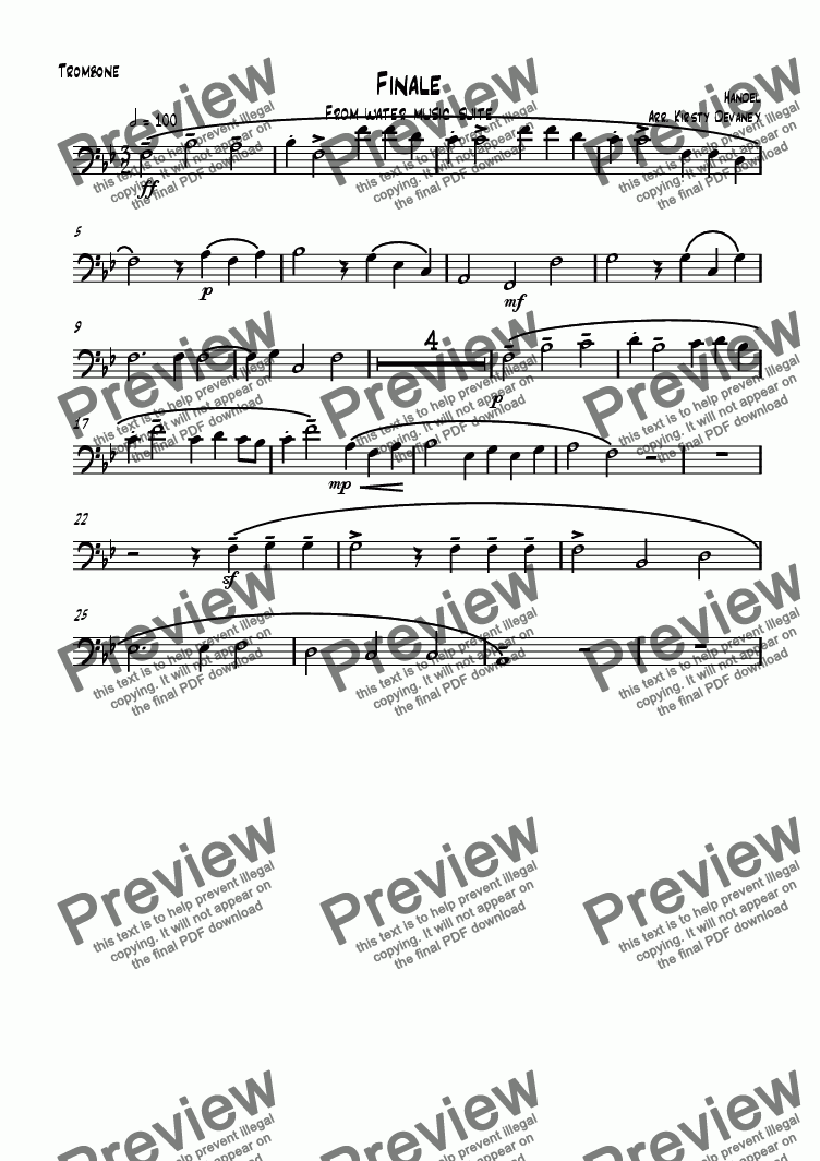 page one of the Trombone part from Water Music-Finale (brass quartet)