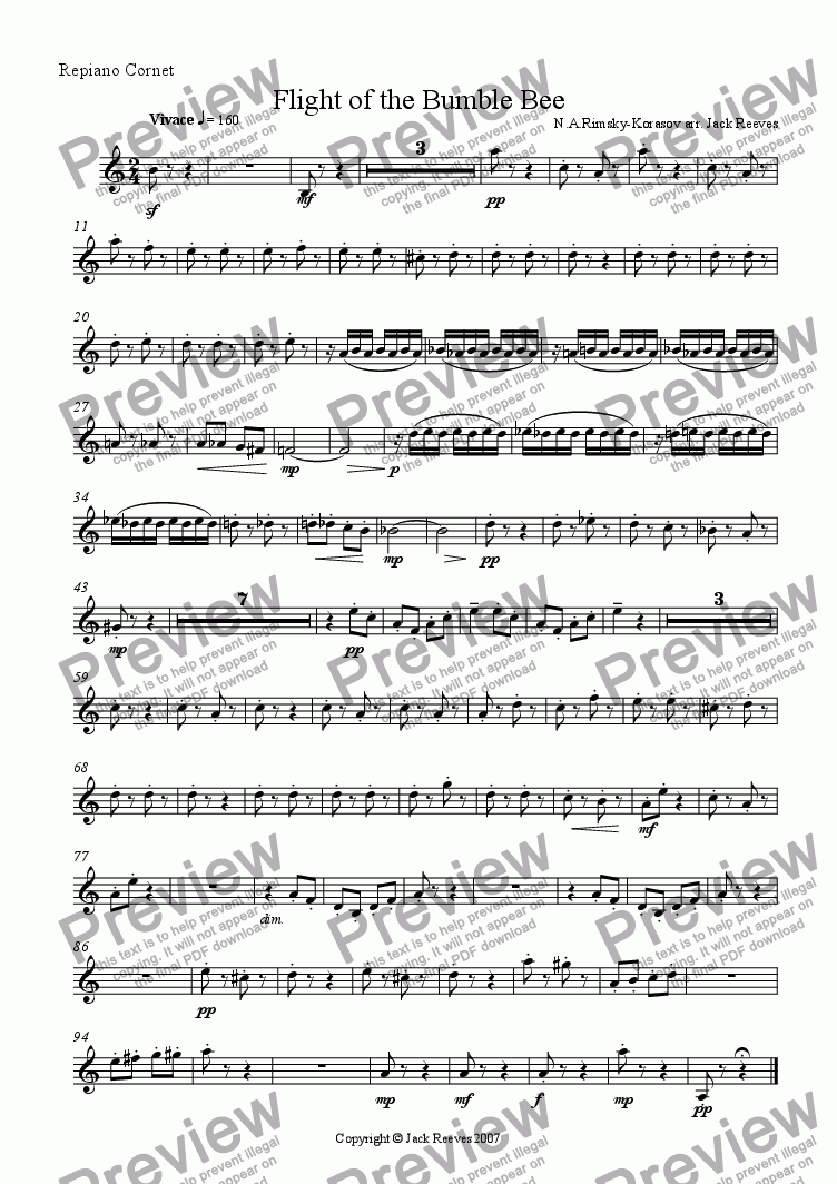 page one of the Repiano Cornet part from Flight of the Bumble Bee (Brass Band - Eb Bass Solo)
