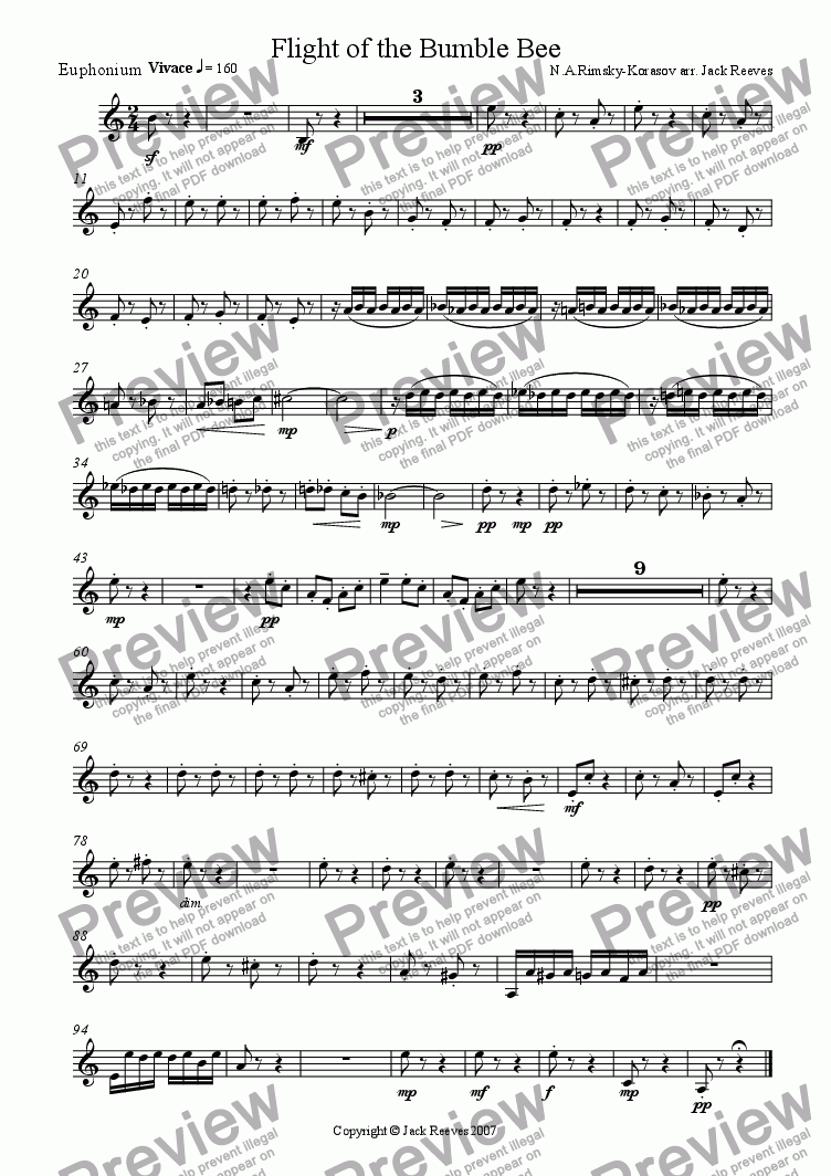 page one of the Euphonium part from Flight of the Bumble Bee (Brass Band - Trumpet Solo)