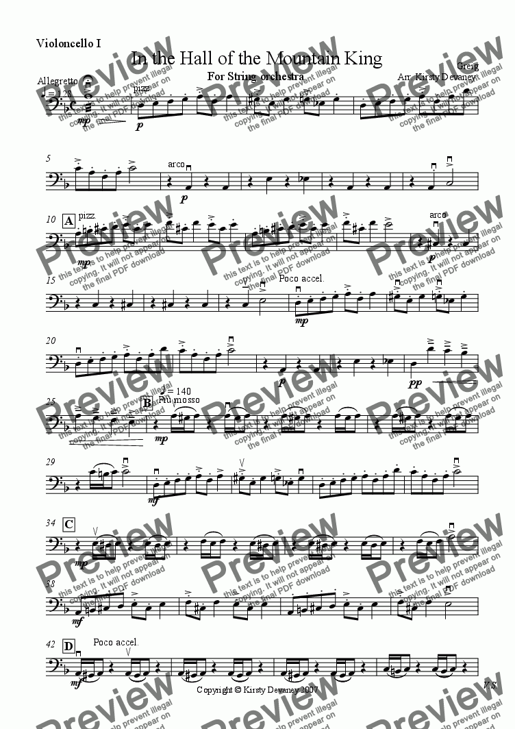 page one of the Cello 1 part from In the Hall of the Mountain King