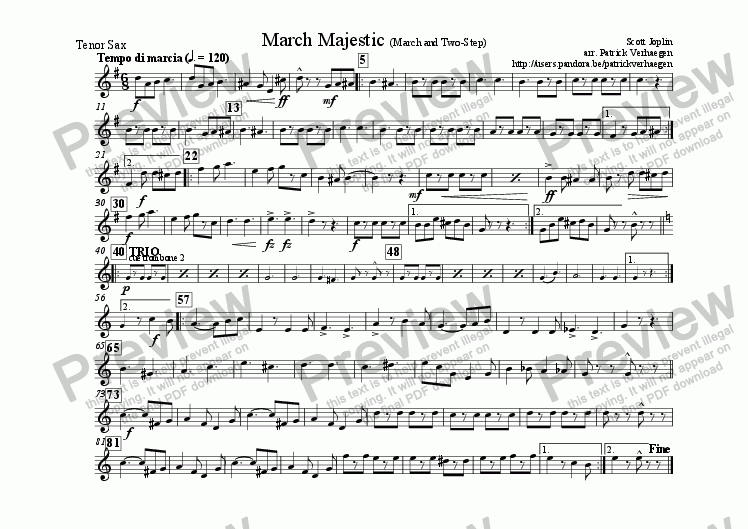 page one of the sax tenor part from March Majestic (for fanfare band)