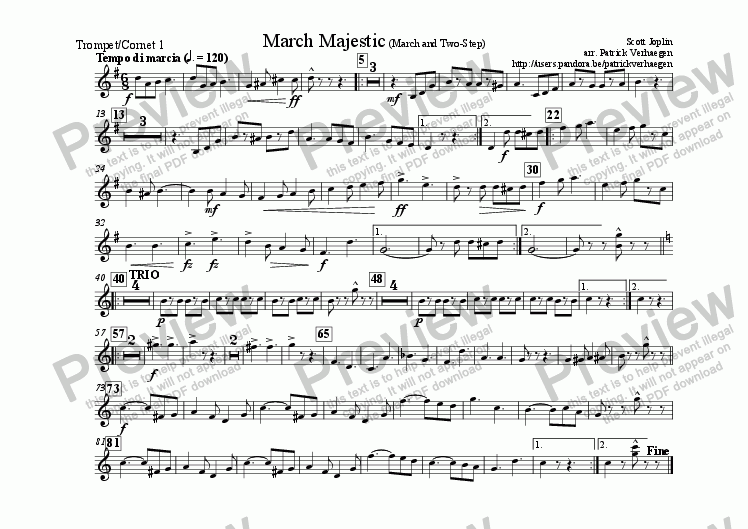 page one of the trompet 1 part from March Majestic (for fanfare band)