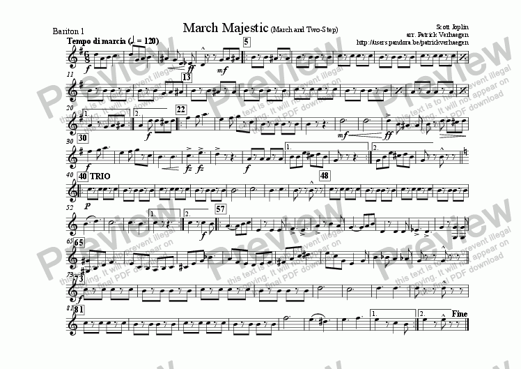 page one of the bariton 1 part from March Majestic (for fanfare band)