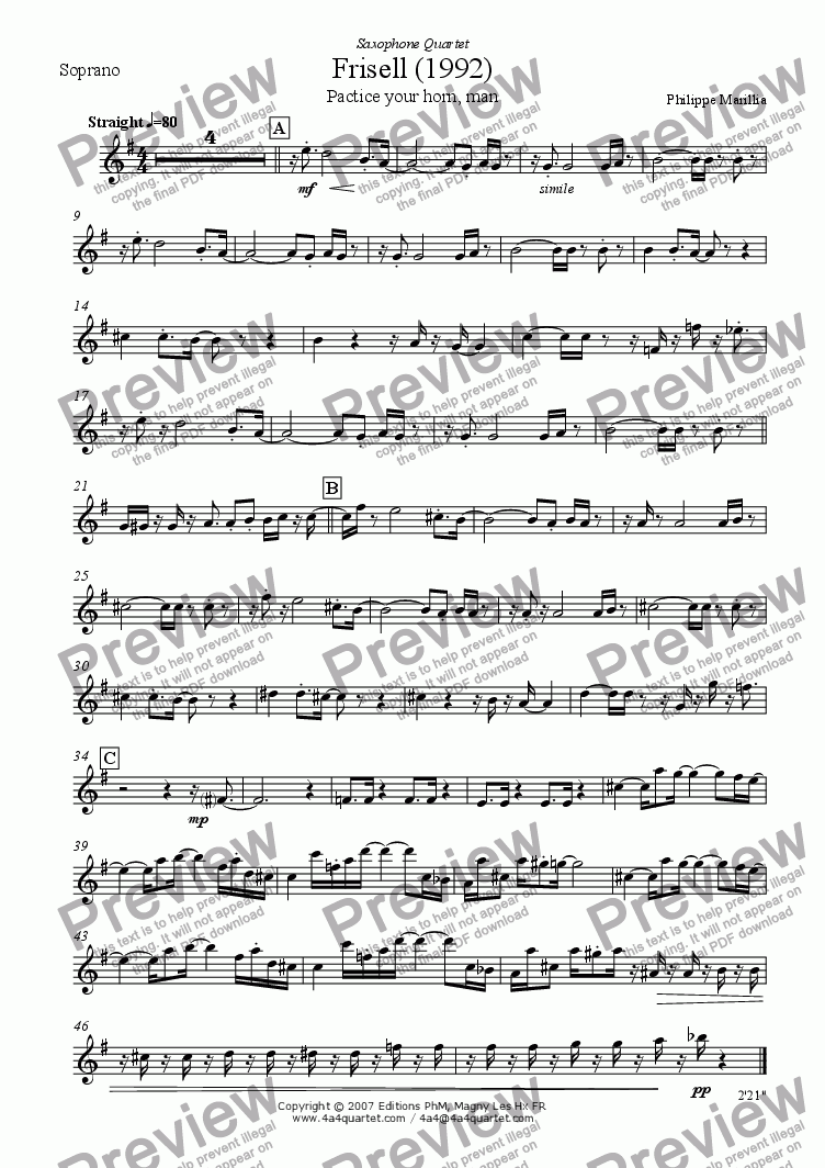 page one of the Soprano Sax part from Frisell (Sax quartet)