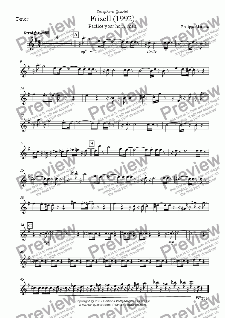 page one of the Tenor Sax part from Frisell (Sax quartet)